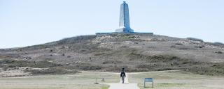 A photo of the Wright Brothers Memorial at Kitty Hawk.