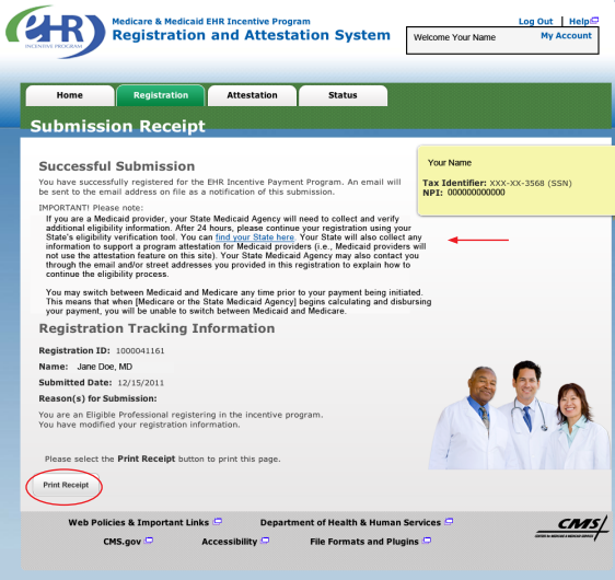 screengrab from Registration and Attestation System
