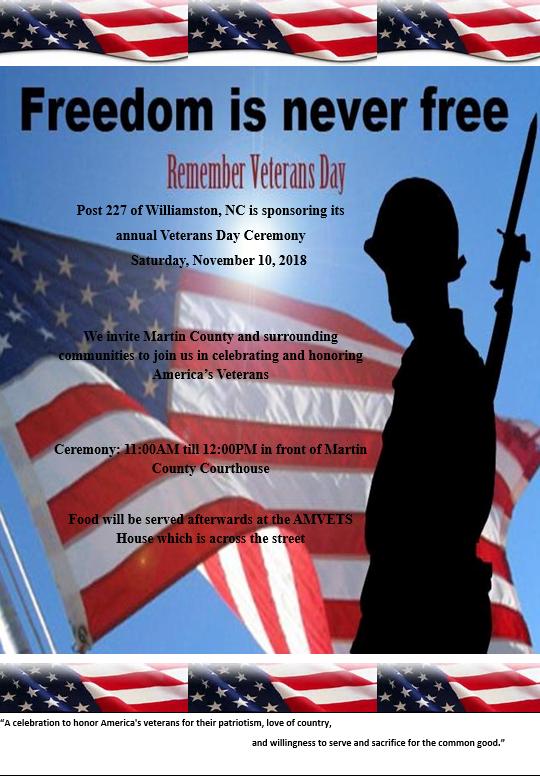 Williamston Veterans Day Ceremony