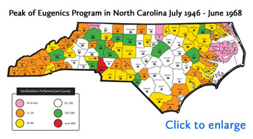 Small graphic of NC map of Peak of Eugenics Program in NC July 1946-1968