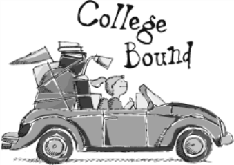 "Cartoon image with student in a car packed with luggage and books. Includes text stating ""College Bound""."