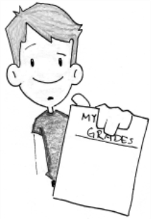 "Cartoon image with student showing ""My Grades"" document."