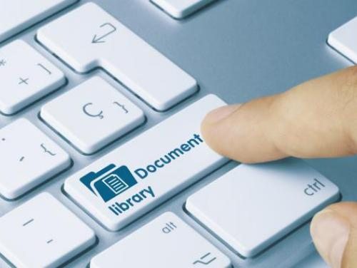 """Document Library"" printed on a keyboard key"
