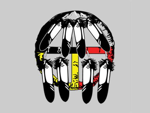 Drawing of Indian dream catcher with black, white, yellow and red colors