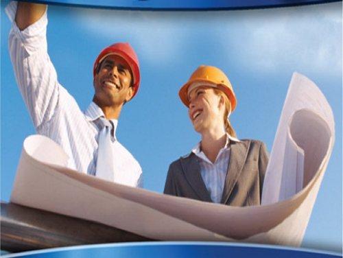 Contractors reading a design