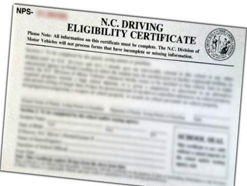 Photo of a Driving Eligibility Certificate (DEC)