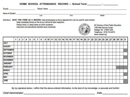Photo of a Home School Attendance Record Template
