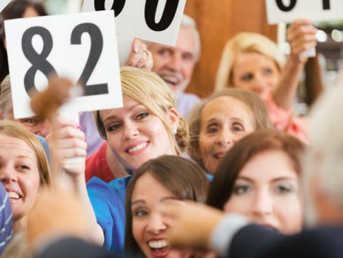 Audience of bidders at an auction