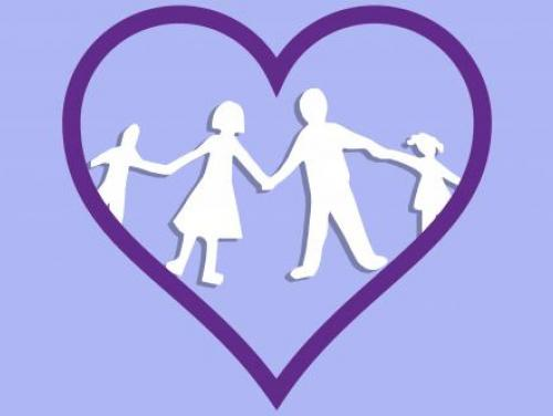 Image with purple heart with white cutouts shaped like a man, woman, boy and girl.