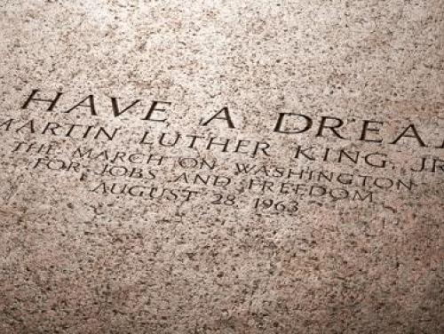 """I Have a Dream"" etched into building facade"