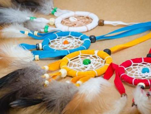 Group of colorful dreamcatchers