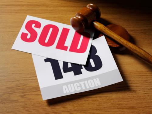 Auction bid cards and gavel