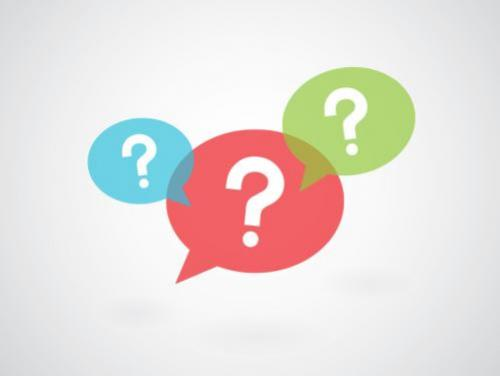 Three speech bubbles with question marks