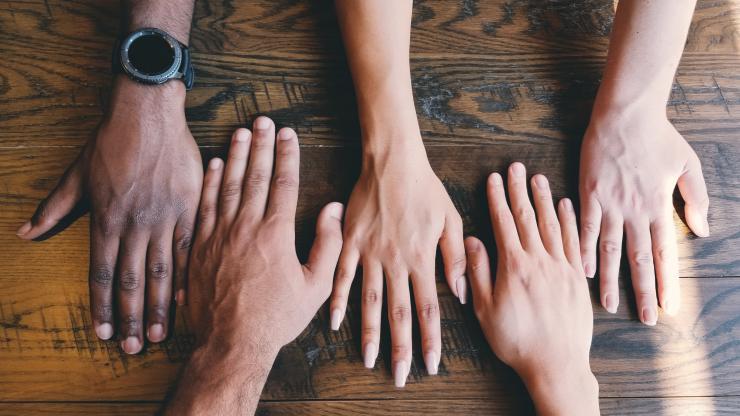 Hands lined up together.