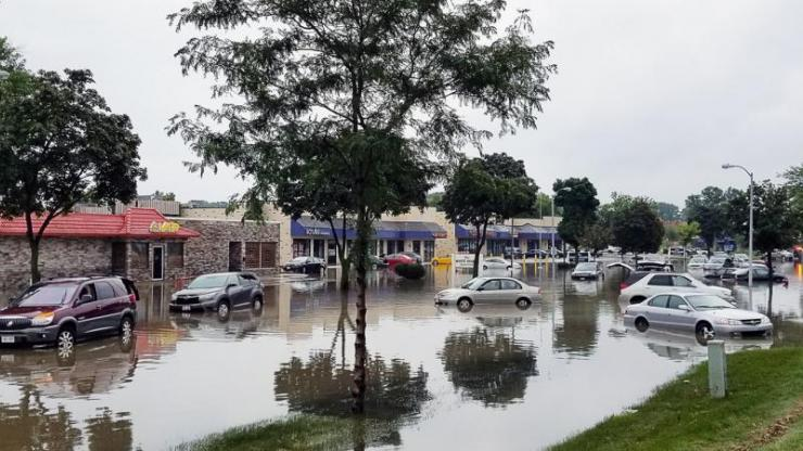 Cars in flooded waters