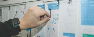 Hand Arranging String Along an Organizational Chart