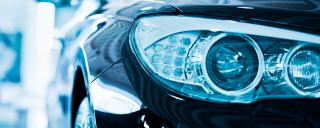 Closeup of car headlights