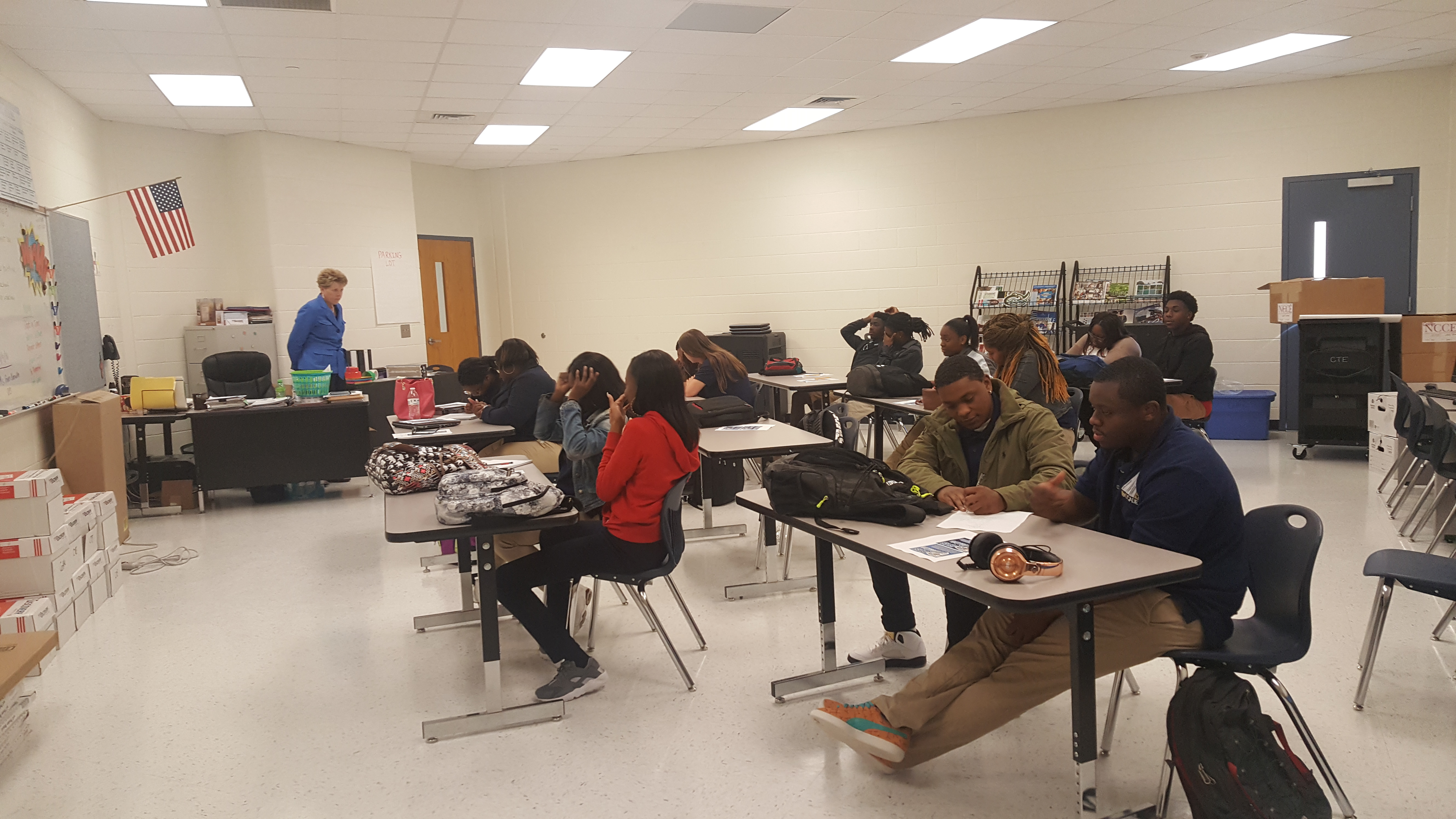 Deputy Secretary for Adult Correction Gwen Norville speak with 16 Bertie County High School students as part of the Public Safety Cadet program.