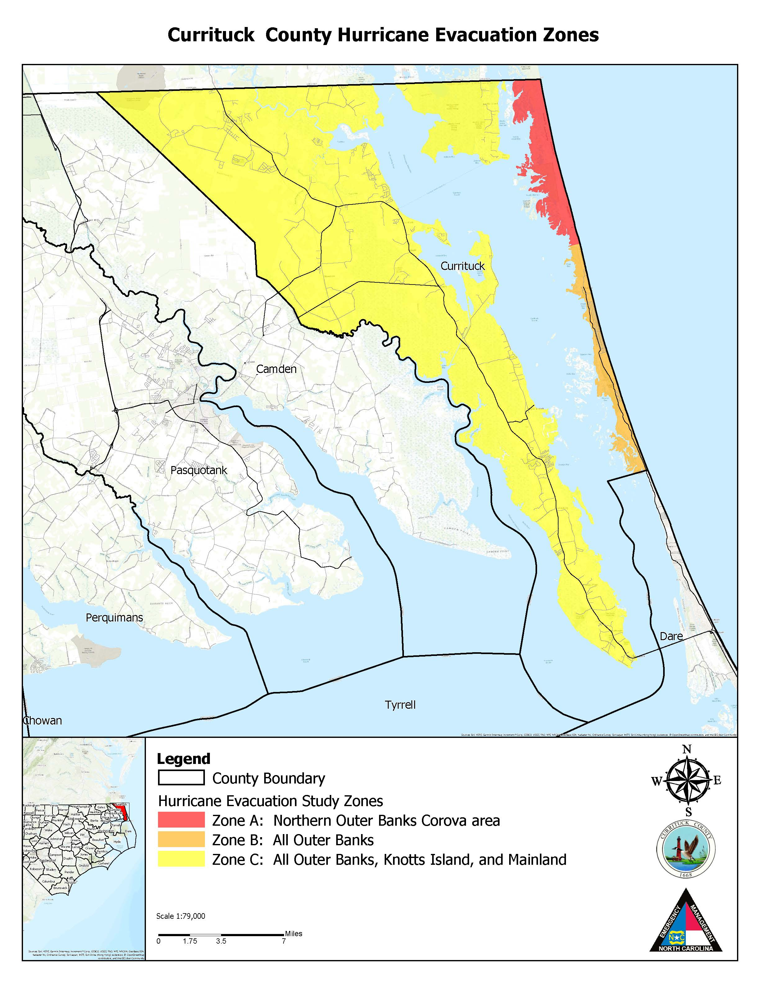 Currituck County Evacuation Zone map