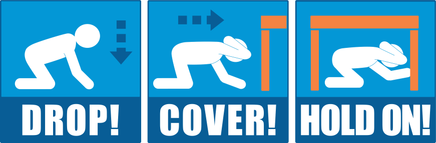 Drop, Cover and Hold On to be safe during an earthquake.