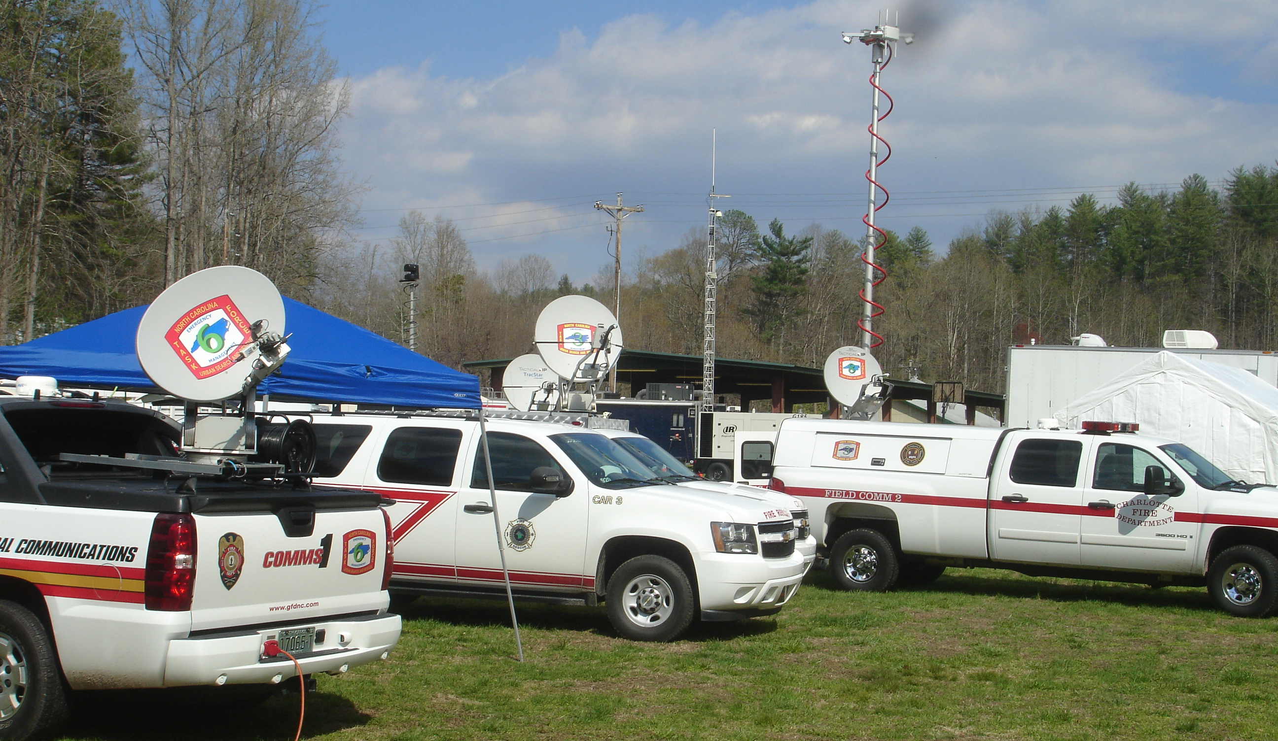 Emergency communications vehicles during an exercise