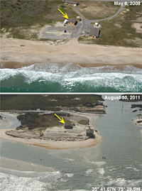 Photos of Pea Island National Wildlife Refuge Before and After Hurricane Irene