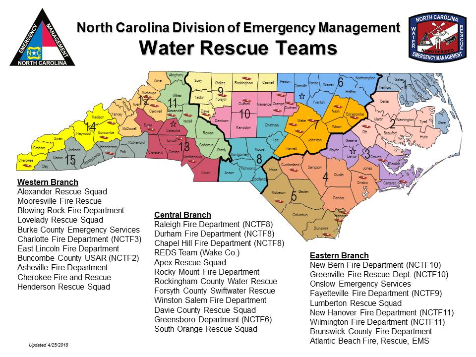 Water Rescue Teams map