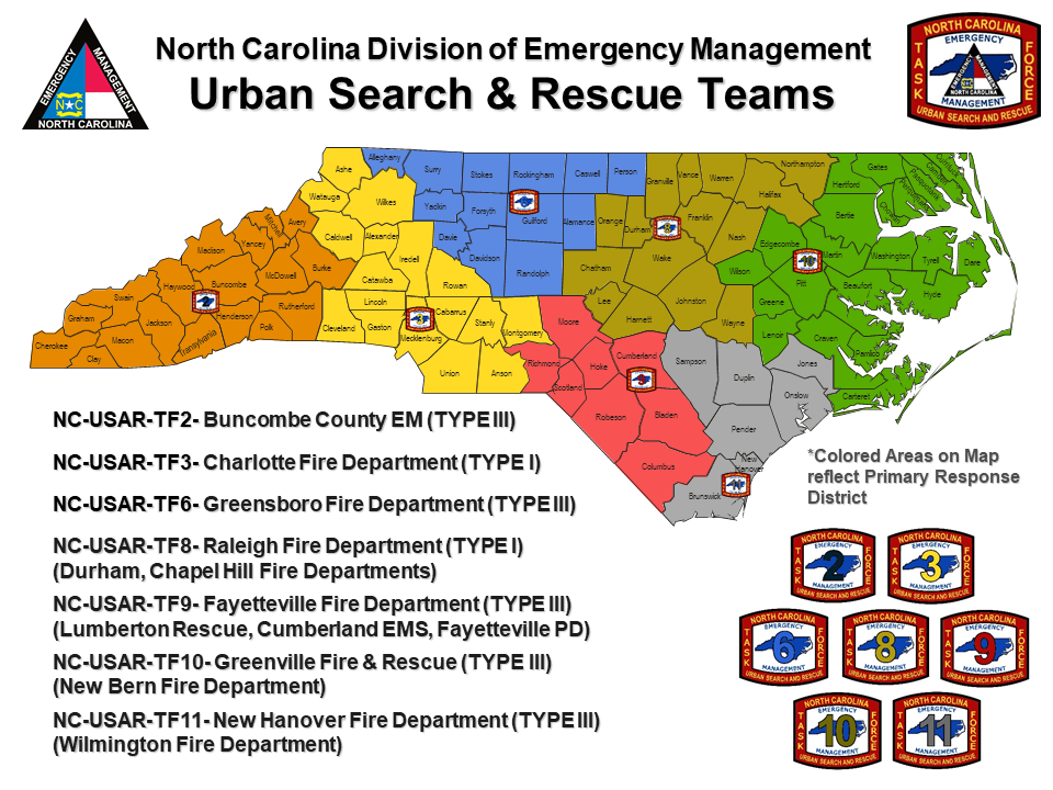 USAR Team locations - map