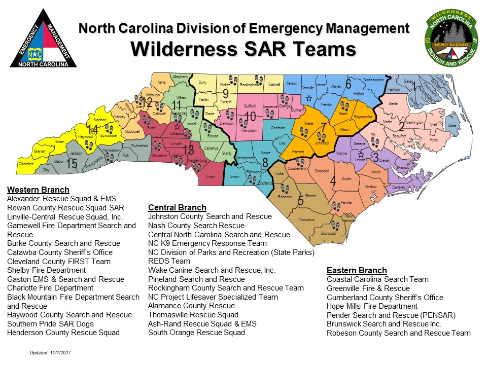 Wilderness Search &  Rescue map