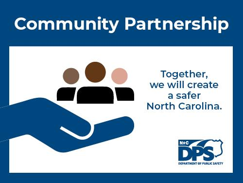 Community Partnership hand holding three figures graphic