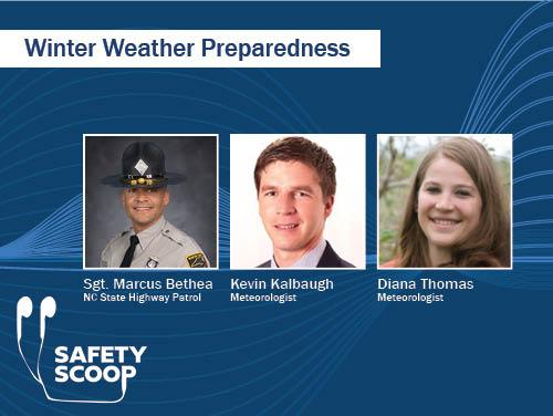 photos of trooper, man and woman on graphic: Winter Weather Preparedness
