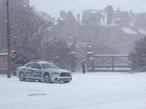 State Capitol Police Car in front of Governor's Mansion