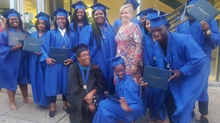 Photograph of 16 Bertie County students who graduated from the DPS Public Safety Cadet program