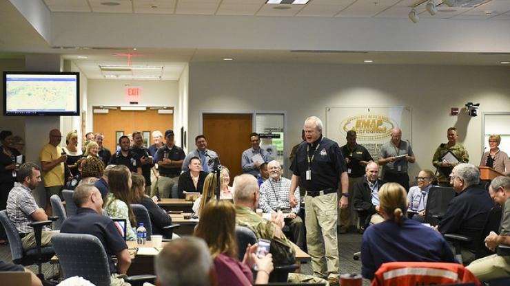 Group of employees in EOC Conference Room