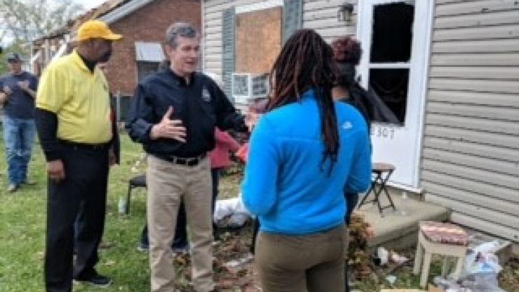 Gov. Cooper visits tornado damaged neighborhood in Greensboro
