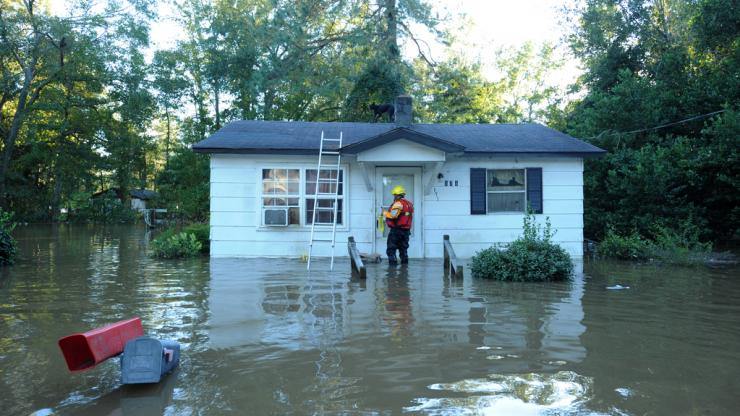 Flooded home during Hurricane Matthew