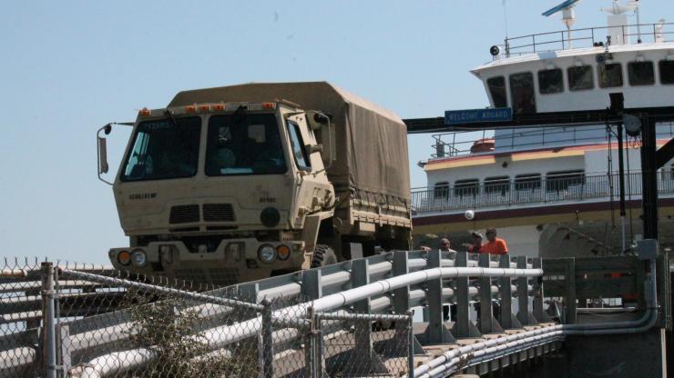 Trucks arrive at Ocracoke