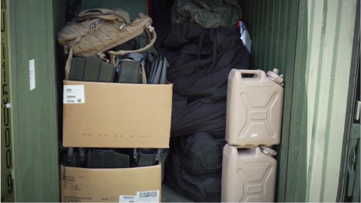 Supplies in storage container
