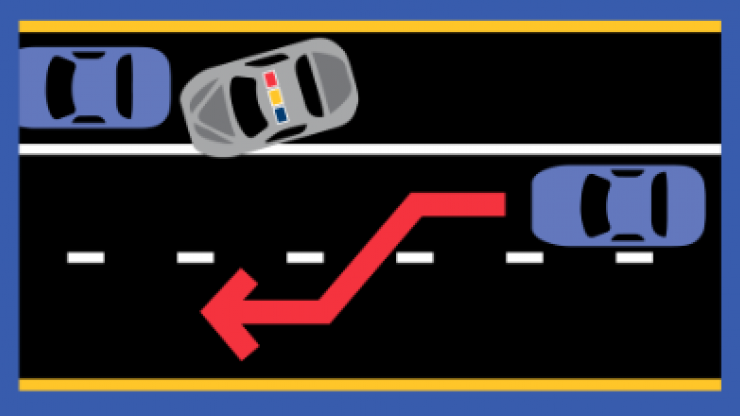 Graphic of car moving to the left lane due to police vehicle on side of road
