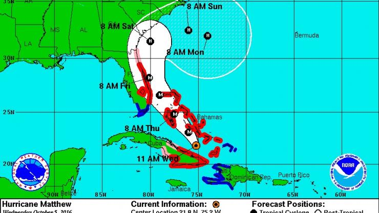 National Weather Service Oct 5 11 a.m. updated track of Hurricane Matthew