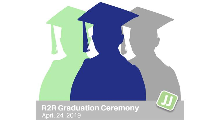 Three Graduates in Green, Blue and Gray