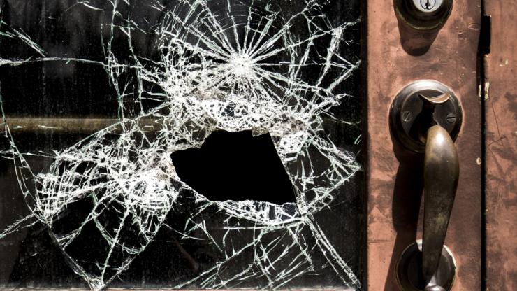 Door with glass broken