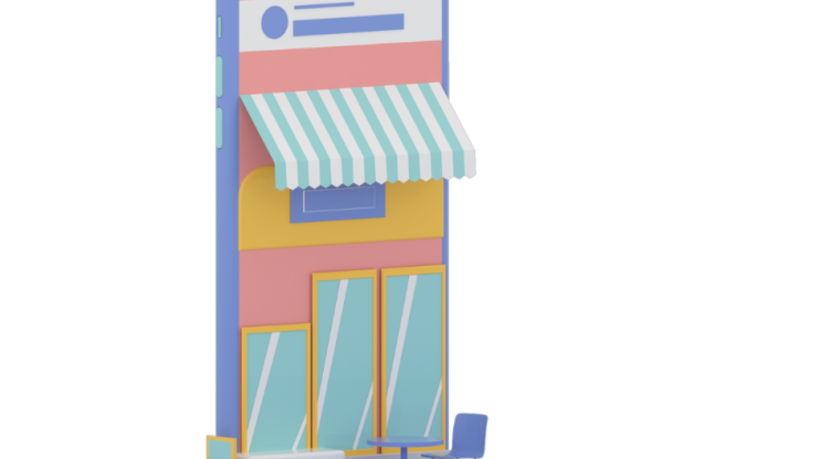 Cartoon phone illustration with awning and windows with a table set up next to it like it is a storefront.