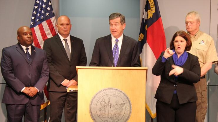 Image result for picture of governor cooper at hurricane press conference