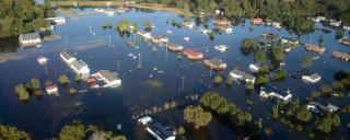Aerial view of flooded Princeville