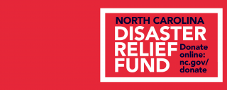 "Red banner that says ""Disaster Relief Fund"""