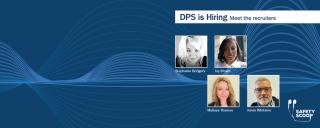 """Graphic reading """"DPS is Hiring"""" with pictures of four recruiters"""