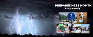 collage of lightning, evacuation sign, supply kit