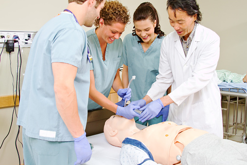 Training on a medical dummy
