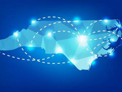 Image of the state of North Carolina with a network of glowing dots